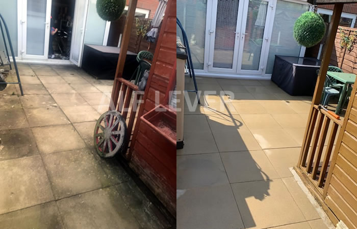 patio cleaning before and after picture